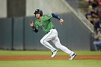 Drew Waters (11) of the Gwinnett Stripers takes off for second base during the game against the Scranton/Wilkes-Barre RailRiders at Coolray Field on August 16, 2019 in Lawrenceville, Georgia. The Stripers defeated the RailRiders 5-2. (Brian Westerholt/Four Seam Images)