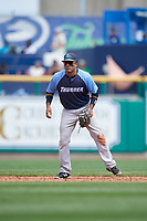Trenton Thunder shortstop Wendell Rijo (12) during a game against the Hartford Yard Goats on August 26, 2018 at Dunkin' Donuts Park in Hartford, Connecticut.  Trenton defeated Hartford 8-3.  (Mike Janes/Four Seam Images)