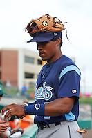 Corpus Christi Hooks second baseman Tony Kemp (7) signs autographs before a game against the Arkansas Travelers on May 29, 2015 at Dickey-Stephens Park in Little Rock, Arkansas.  Corpus Christi defeated Arkansas 4-0 in a rain shortened game.  (Mike Janes/Four Seam Images)