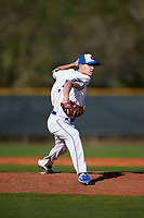 South Dakota State Jackrabbits pitcher Bryce Johnson (5) during a game against the Northeastern Huskies on February 23, 2019 at North Charlotte Regional Park in Port Charlotte, Florida.  Northeastern defeated South Dakota State 12-9.  (Mike Janes/Four Seam Images)