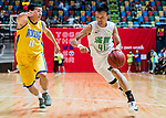 Au Yeung Wai Kong #41 of Tycoon Basketball Team goes to the basket against the Winling during the Hong Kong Basketball League playoff game between Tycoon and Winling at Queen Elizabeth Stadium on July 27, 2018 in Hong Kong. Photo by Yu Chun Christopher Wong / Power Sport Images