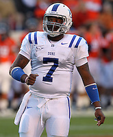 CHARLOTTESVILLE, VA- NOVEMBER 12: Quarterback Anthony Boone #7 of the Duke Blue Devils waits for the play during the game against the Virginia Cavaliers on November 12, 2011 at Scott Stadium in Charlottesville, Virginia. Virginia defeated Duke 31-21. (Photo by Andrew Shurtleff/Getty Images) *** Local Caption *** Anthony Boone