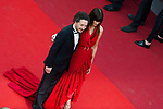 70eme Festival International du Film de Cannes. Montee de la ceremonie de cloture, vues du toit du Palais . 70th International Cannes Film Festival. Vew from rof top of closing red carpet<br /> <br /> <br /> <br /> <br />  Hands, Marina; Gallienne, Guillaume