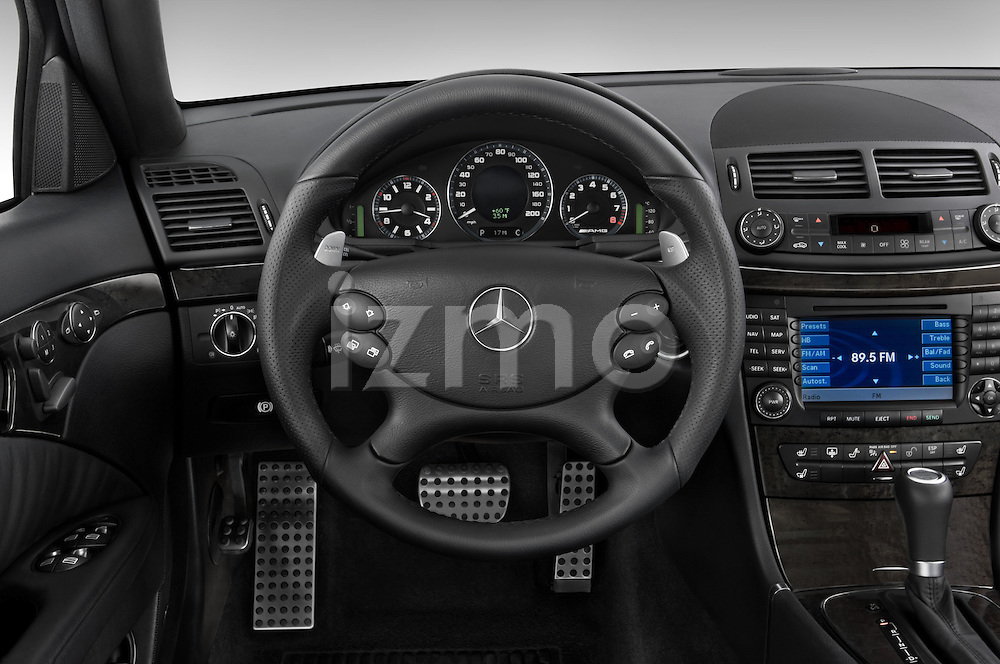 Steering wheel view of a 2008 Mercedes E63 Sedan