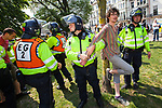 © Joel Goodman - 07973 332324 . 24/04/2011 . Brighton , UK . Police detain anti-fascist demonstrators . Nationalist street movement March for England holds a march and rally in Brighton , opposed by antifascists . Photo credit : Joel Goodman