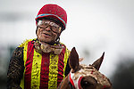 ARCADIA CA - APRIL 09:Jockey, Martin Pedroza is covered in mud after a race at Santa Anita Park on April 9, 2016 in Arcadia, California. (Photo by Alex Evers/Eclipse Sportswire/Getty Images)