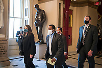 The Impeachment Managers walk to the House chamber during a vote on H. Res. 24, Impeaching Donald John Trump, President of the United States, for high crimes and misdemeanors, at the U.S. Capitol in Washington, DC, Wednesday, January 13, 2021. Credit: Rod Lamkey / CNP /MediaPunch