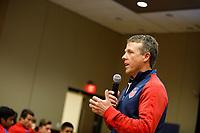 Bradenton, FL : John Hackworth speaks to US Soccer colleagues before a presentation in Bradenton, Fla., on January 4, 2018. (Photo by Casey Brooke Lawson)