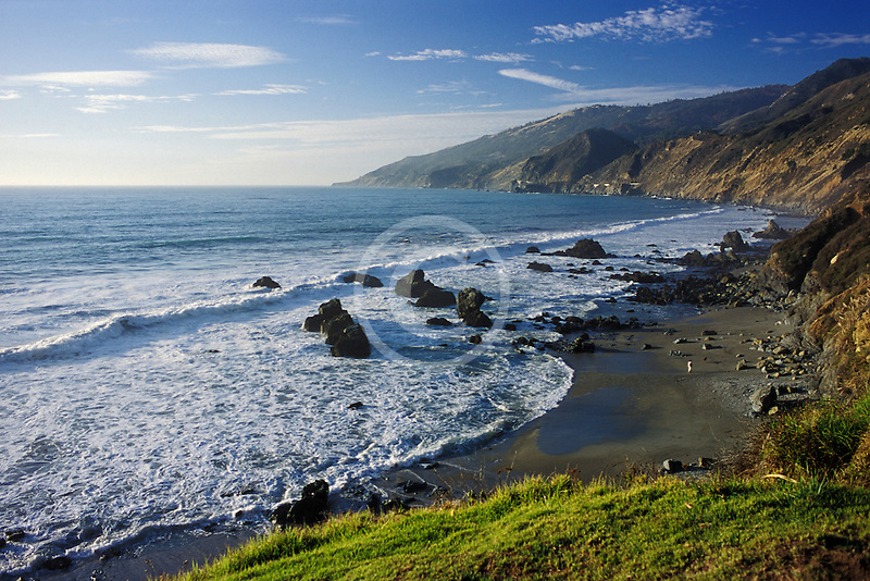 Travel Landscape scenic, California, Big Sur Coast, beach and ocean at Lucia along Highway One