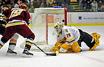 10 January 2009: University of Vermont Catamount goaltender Rob Madore, a Freshman from Venetia, PA, in action against the Boston College Eagles during the second game of a weekend series at Gutterson Fieldhouse in Burlington, Vermont. The Catamounts rallied from an early 2-0 deficit to defeat the visiting Eagles 4-2. Mandatory Photo Credit: Ed Wolfstein Photo