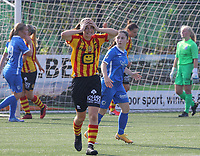 Louisse Rillaerts (15) of Yellow Red KV Mechelen shows disbelief with the missed chance during soccer game between Yellow Red KV Mechelen Women and KRC Genk during Belgian Women's National Division 1 match  on day 2 of 2021-2022 season, on Saturday 4th of September  2021 in Mechelen , Belgium . PHOTO SEVIL OKTEM | SPORTPIX