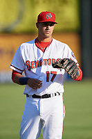 Harrisburg Senators third baseman Drew Ward (17) during warmups before a game against the Bowie Baysox on May 16, 2017 at FNB Field in Harrisburg, Pennsylvania.  Bowie defeated Harrisburg 6-4.  (Mike Janes/Four Seam Images)