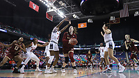 GREENSBORO, NC - MARCH 07: Emma Guy #11 of Boston College is guarded by Jada Boyd #5 of North Carolina State University during a game between Boston College and NC State at Greensboro Coliseum on March 07, 2020 in Greensboro, North Carolina.