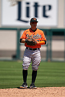 Baltimore Orioles second baseman Andrew Martinez (72) during a Minor League Spring Training game against the Detroit Tigers on April 14, 2021 at Joker Marchant Stadium in Lakeland, Florida.  (Mike Janes/Four Seam Images)
