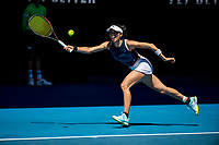 10th February 2021, Melbourne, Victoria, Australia; Su-Wei Hsieh of Taiwan returns the ball during round 2 of the 2021 Australian Open on February 10 2020, at Melbourne Park in Melbourne, Australia.