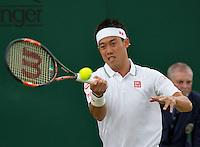 London, England, 2 July, 2016, Tennis, Wimbledon, Kei Nishikori (JAP) in his match against Andrey Kuznetsov (RUS)<br /> Photo: Henk Koster/tennisimages.com