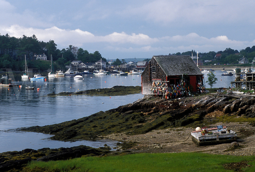 lobster shack, ME, Maine, Lobster shack at low tide in the harbor of Bayley Island on Casco Bay.