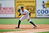 Birmingham Barons first baseman Nick Basto (20) during a game against the Pensacola Blue Wahoos on May 9, 2018 at Regions FIeld in Birmingham, Alabama.  Birmingham defeated Pensacola 16-3.  (Mike Janes/Four Seam Images)