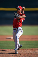 Los Angeles Angels pitcher Jose D. Rodriguez (32) during an instructional league game against the Oakland Athletics on October 9, 2015 at the Tempe Diablo Stadium Complex in Tempe, Arizona.  (Mike Janes/Four Seam Images)