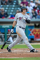 Logan Morrison (5) of the Scranton/Wilkes-Barre RailRiders follows through on his swing at Victory Field on May 14, 2019 in Indianapolis, Indiana. The Indians defeated the RailRiders 4-2. (Andrew Woolley/Four Seam Images)