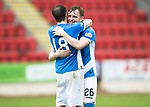 St Johnstone v Partick Thistle…13.05.17     SPFL    McDiarmid Park<br />Liam Craig and Paul Paton celebrate qualifying for Europe at full time;<br />Picture by Graeme Hart.<br />Copyright Perthshire Picture Agency<br />Tel: 01738 623350  Mobile: 07990 594431