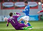 Hamilton Academical St Johnstone....04.04.15<br /> Michael O'Halloran goes past Michgael McGovern but goes to wide<br /> Picture by Graeme Hart.<br /> Copyright Perthshire Picture Agency<br /> Tel: 01738 623350  Mobile: 07990 594431