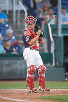 Portland Sea Dogs catcher Jake Romanski (16) during a game against the Reading Fightin Phils on May 31, 2016 at Hadlock Field in Portland, Maine.  Reading defeated Portland 6-4.  (Mike Janes/Four Seam Images)