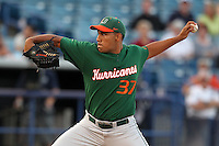 """Miami Hurricanes Daniel Miranda #37 during a game vs. the University of South Florida Bulls in the """"Florida Four"""" at George M. Steinbrenner Field in Tampa, Florida;  March 1, 2011.  USF defeated Miami 4-2.  Photo By Mike Janes/Four Seam Images"""
