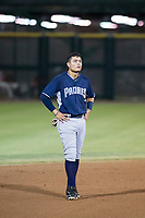 AZL Padres 2 right fielder Tirso Ornelas (33) waits on the field between innings of a game against the AZL Giants on July 13, 2017 at Scottsdale Stadium in Scottsdale, Arizona. AZL Giants defeated the AZL Padres 2 11-3. (Zachary Lucy/Four Seam Images)