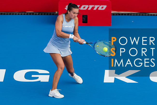 Dalila Jakupovic of Slovenia competes against Viktoriya Tomova of Bulgaria during the singles first round match at the WTA Prudential Hong Kong Tennis Open 2018 at the Victoria Park Tennis Stadium on 08 October 2018 in Hong Kong, Hong Kong. Photo by Yu Chun Christopher Wong / Power Sport Images