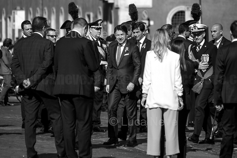 """Giuseppe Conte (Italian Prime Minister).<br /> <br /> Rome, 02/06/2019. Today, Italy celebrated the annual """"Festa Della Repubblica"""" (Republic Day, 1.). The 73rd Anniversary of the Italian Republic (*) was marked with the """"Raising the Flag Ceremony"""" and the tribute to the Sacello del Milite Ignoto (Unknown Soldier) at the Altare della Patria """"Vittoriano"""" (2.) by the President of the Italian Republic Sergio Mattarella, followed by the traditional army, veterans and civilians parade along Via Dei Fori Imperiali. This year, the President of the Republic was accompanied by the Defence Minister Elisabetta Trenta, the Italian Prime Minister Giuseppe Conte, the Presidents of the two Chambers of the Parliament, Roberto Fico and Maria Elisabetta Alberti Casellati, several members of the Italian Government, political leaders, senior officers of the Armed Forces and representatives of the Civilian Organizations. At the end of the events the Frecce Tricolori, the Italian Aerobatic Team, coloured the sky over Rome with the Tricolore (Tricolour: Green, White, Red) of the Italian Flag. The theme for this year's event was inclusiveness. <br /> <br /> Footnotes and Links:<br /> (*) The Referendum was held on 2 June 1946 and it marked the decision made by the Italian people to adopt the Republic as the new institutional form for the Country. <br /> 1. http://bit.do/eT8By (ITA) & http://bit.do/eT8Bv (ENG) at https://www.difesa.it/<br /> 2. http://bit.do/eT8BG (Wikipedia)"""
