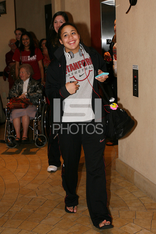 SAN ANTONIO, TX - APRIL 4:  Guests gather at a rally before Stanford's 73-66 win over Oklahoma in the Final Four semi-finals at the Alamo Dome on April 4, 2010 in San Antonio, Texas. Pictured is Grace Mashore.