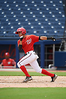 GCL Nationals designated hitter Jose Sanchez (8) at bat during the second game of a doubleheader against the GCL Mets on July 22, 2017 at The Ballpark of the Palm Beaches in Palm Beach, Florida.  GCL Mets defeated the GCL Nationals 4-1.  (Mike Janes/Four Seam Images)