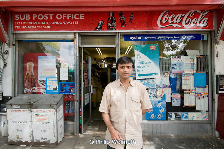AJ Singhal outside his Harrow Road post office, which is scheduled for closure in August 2008