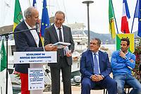 Marc PAJOT, Parrain du nouveau quai Catamarans, avec Eric CONTENCIN, Henri LEROY et Ludovic GIULY lors de l'inauguration du Salon du Bateau - Les Nouvelles Vagues du Nautisme - au Port de la Napoule à Mandelieu, Sud de la France, vendredi 14 avril 2017. # INAUGURATION DU SALON DU BATEAU A MANDELIEU