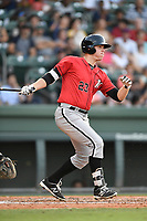 First baseman Gavin Sheets (23) of the Kannapolis Intimidators bats in a game against the Greenville Drive on Wednesday, July 12, 2017, at Fluor Field at the West End in Greenville, South Carolina. Greenville won, 12-2. (Tom Priddy/Four Seam Images)