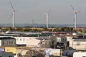 Caravan park next to the Npower Renewables wind farm at Little Cheyne Court,  Camber, Kent.