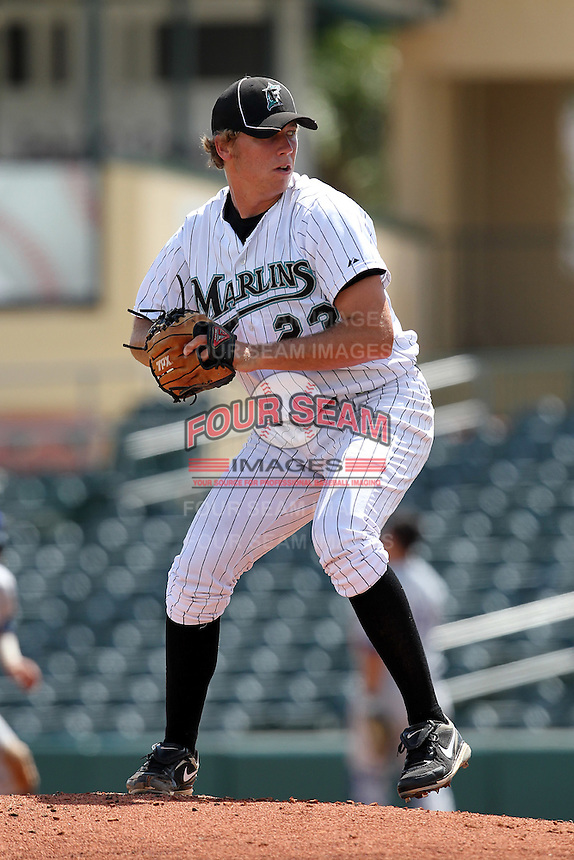 Pitcher Daniel Oliver #23 of the Florida Marlins instructional League team during a game against the Italian National Team at the Roger Dean Stadium in Jupiter, Florida;  September 27, 2011.  Italy is training in Florida for the Baseball World Cup.  (Mike Janes/Four Seam Images)