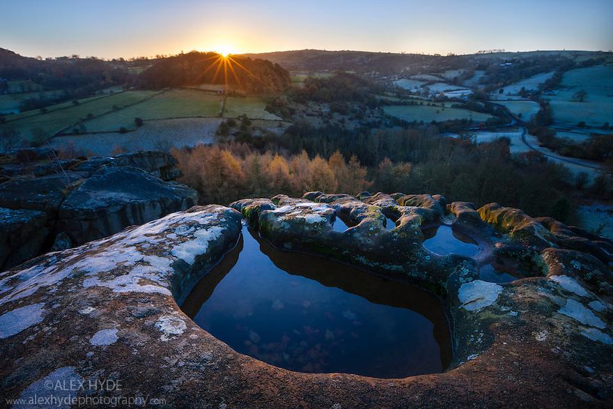 Cratcliff Rocks at sunrise, Peak District National Park, Derbyshire, UK. November.