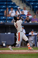 Aberdeen Ironbirds Andrew Fregia (6) bats during a NY-Penn League game against the Staten Island Yankees on August 22, 2019 at Richmond County Bank Ballpark in Staten Island, New York.  Aberdeen defeated Staten Island 4-1 in a rain shortened game.  (Mike Janes/Four Seam Images)