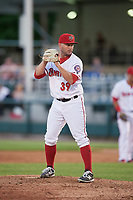 Harrisburg Senators relief pitcher Ryan Brinley (39) gets ready to deliver a pitch during a game against the Bowie Baysox on May 16, 2017 at FNB Field in Harrisburg, Pennsylvania.  Bowie defeated Harrisburg 6-4.  (Mike Janes/Four Seam Images)