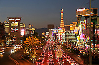 Night lighting night traffic  on The Strip Las Vegas Nevada