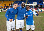 St Johnstone v Motherwell.....19.05.13      SPL.Mehdi Abeid, Gregory Tade and Nigel Hasselbaink celebrate.Picture by Graeme Hart..Copyright Perthshire Picture Agency.Tel: 01738 623350  Mobile: 07990 594431
