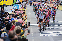 Tadej Pogacar (SVN/UAE-Emirates) finishing at the front of the bunch <br /> <br /> Stage 3 from Lorient to Pontivy (183km)<br /> 108th Tour de France 2021 (2.UWT)<br /> <br /> ©kramon