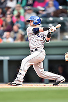 Asheville Tourists designated hitter Max George (3) swings at a pitch during a game against the  Greenville Drive at Fluor Field on April 10, 2016 in Greenville South Carolina. The Drive defeated the Tourists 7-4. (Tony Farlow/Four Seam Images)