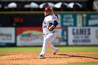 Tennessee Smokies pitcher Juan Gamez (34) delivers a pitch to the plate against the Rocket City Trash Pandas at Smokies Stadium on July 2, 2021, in Kodak, Tennessee. (Danny Parker/Four Seam Images)