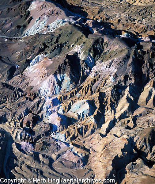 aerial photograph of saline deposits at the base of the valley in the southern portion of Death Valley National Park, northern Mojave Desert, California
