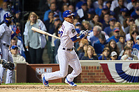 Chicago Cubs Addison Russell (27) bats in the second inning during Game 4 of the Major League Baseball World Series against the Cleveland Indians on October 29, 2016 at Wrigley Field in Chicago, Illinois.  (Mike Janes/Four Seam Images)