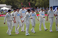 The Black Caps walk from the pitch during day four of the second International Test Cricket match between the New Zealand Black Caps and Pakistan at Hagley Oval in Christchurch, New Zealand on Wednesday, 6 January 2021. Photo: Dave Lintott / lintottphoto.co.nz