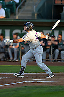 Roberto Ramos (47) of the Grand Junction Rockies follows through on his swing against the Ogden Raptors during the Pioneer League game at Lindquist Field on August 24, 2016 in Ogden, Utah. The Raptors defeated the Rockies 11-10. (Stephen Smith/Four Seam Images)